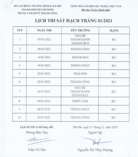Lich thi sat hach thang 01-2021 Thanh Cong