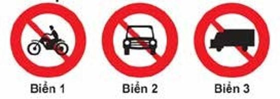 Câu 308: Biển nào báo hiệu cấm xe mô tô ba bánh đi vào?