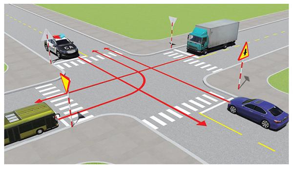 Câu 488: Thứ tự các xe đi như thế nào là đúng quy tắc giao thông?