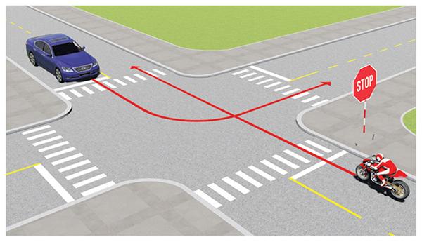 Câu 492: Trường hợp này xe nào được quyền đi trước?