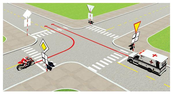 Câu 495: Xe nào được quyền đi trước trong trường hợp này?