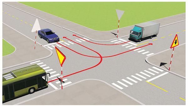 Câu 496: Xe nào phải nhường đường đi cuối cùng qua nơi giao nhau này?