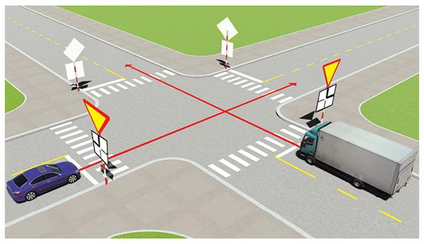 Câu 497: Xe nào phải nhường đường là đúng quy tắc giao thông?