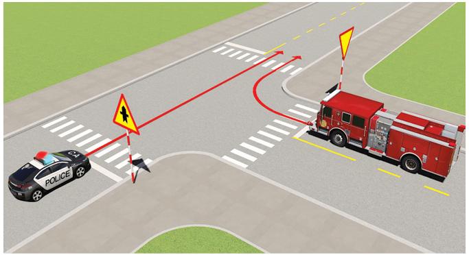 Câu 498: Xe nào được quyền đi trước trong trường hợp này?