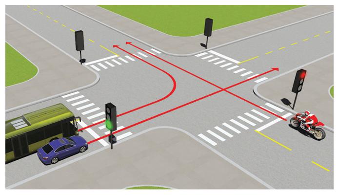 Câu 499: Theo tín hiệu đèn, xe nào được phép đi?