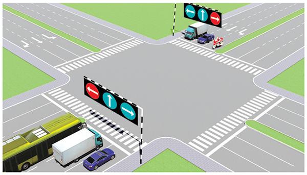 Câu 500: Theo tín hiệu đèn, xe nào được quyền đi là đúng quy tắc giao thông?