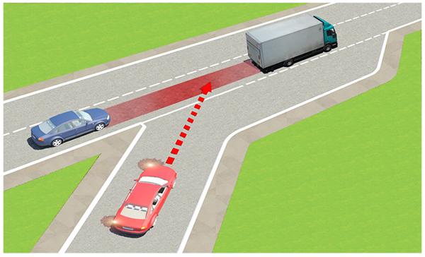 Câu 597: Trong tình huống dưới đây, xe con màu đỏ nhập làn đường cao tốc theo hướng mũi tên là đúng hay sai?