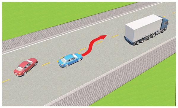 Câu 598: Trong tình huống dưới đây, xe con màu đỏ có được phép vượt khi xe con màu xanh đang vượt xe tải hay không?