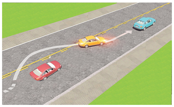 Câu 599: Trong tình huống dưới đây, xe con màu vàng vượt xe con màu đỏ là đúng quy tắc giao thông hay không?
